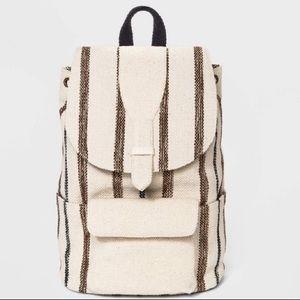 Striped Rucksack Backpack- Black/White